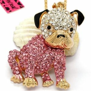 Betsey Johnson Pink Puppy Dog Necklace